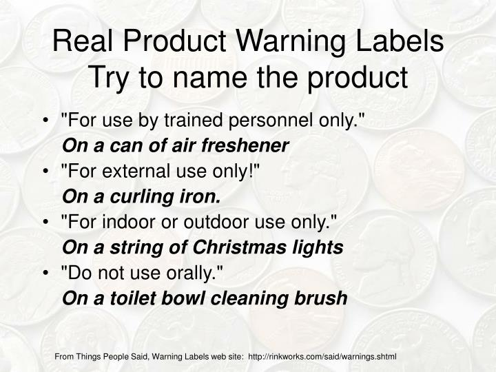 Real Product Warning Labels