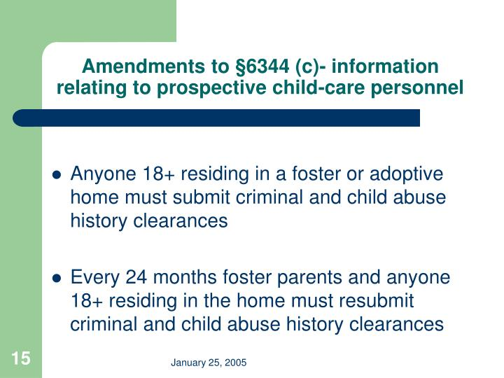 Amendments to §6344 (c)- information relating to prospective child-care personnel