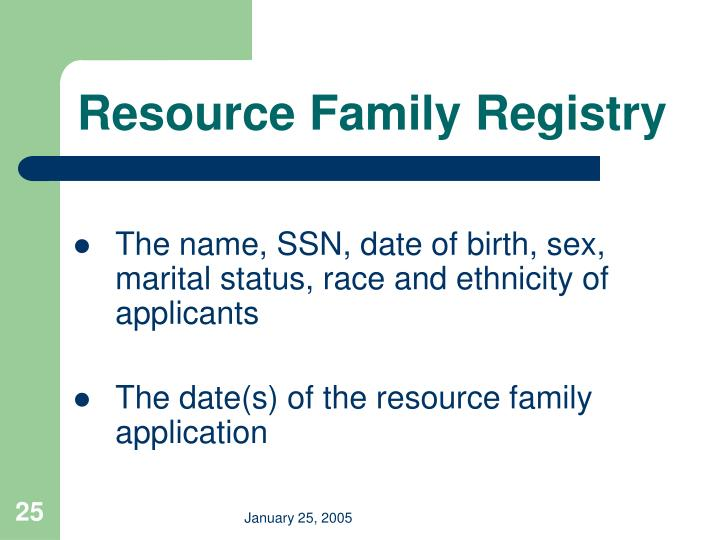 Resource Family Registry