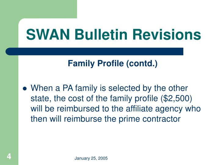 SWAN Bulletin Revisions