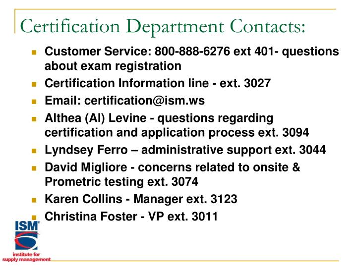 Certification Department Contacts: