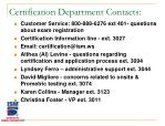 certification department contacts