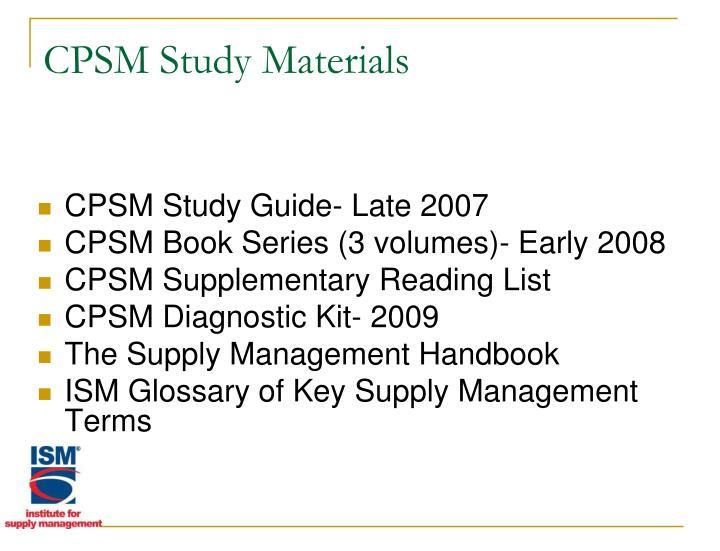 CPSM Study Materials