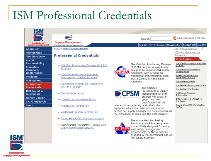 ISM Professional Credentials