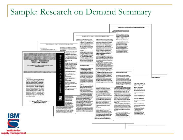 Sample: Research on Demand Summary