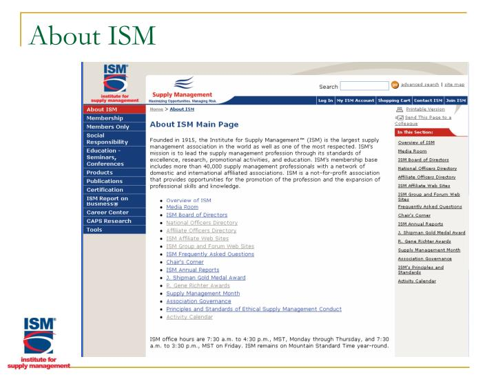 About ISM