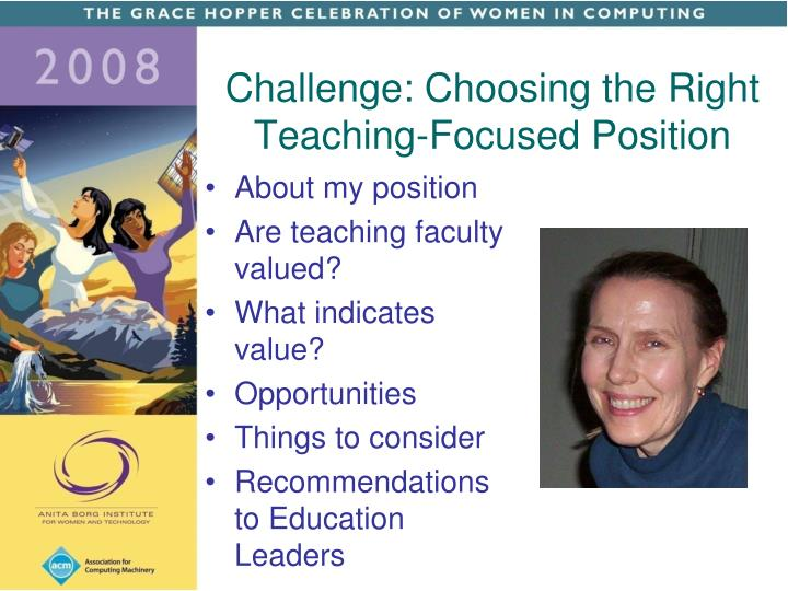 Challenge: Choosing the Right Teaching-Focused Position