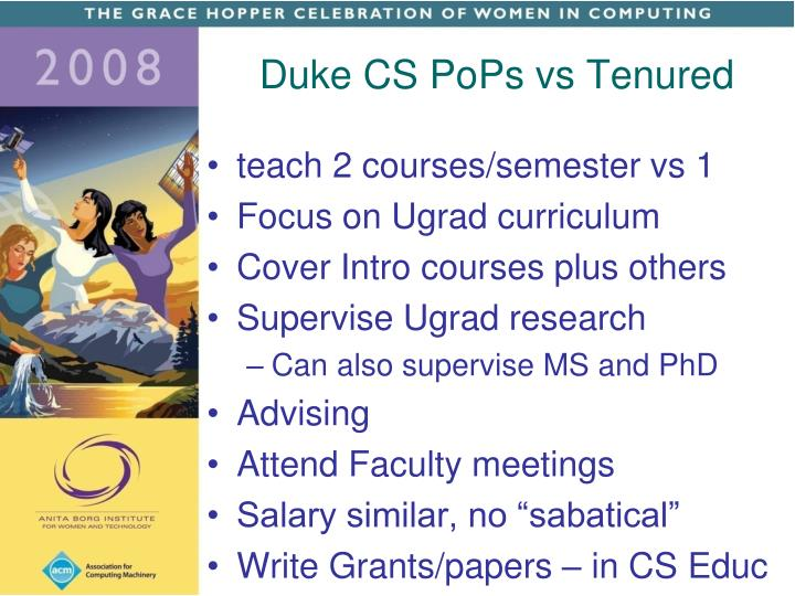 Duke CS PoPs vs Tenured