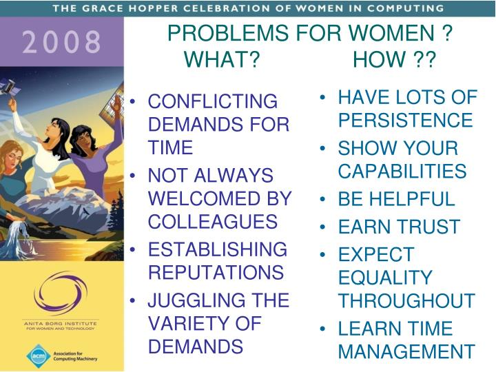PROBLEMS FOR WOMEN ?