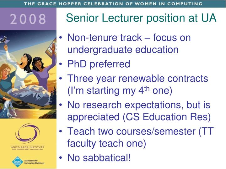 Senior Lecturer position at UA