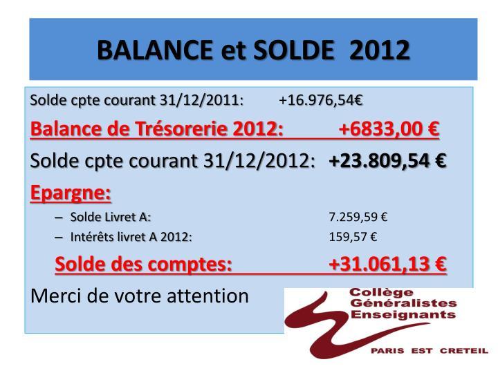 BALANCE et SOLDE  2012