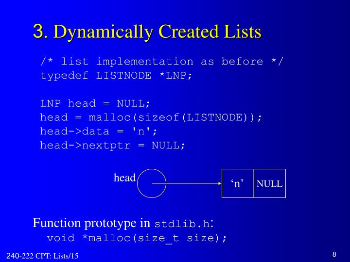 3. Dynamically Created Lists