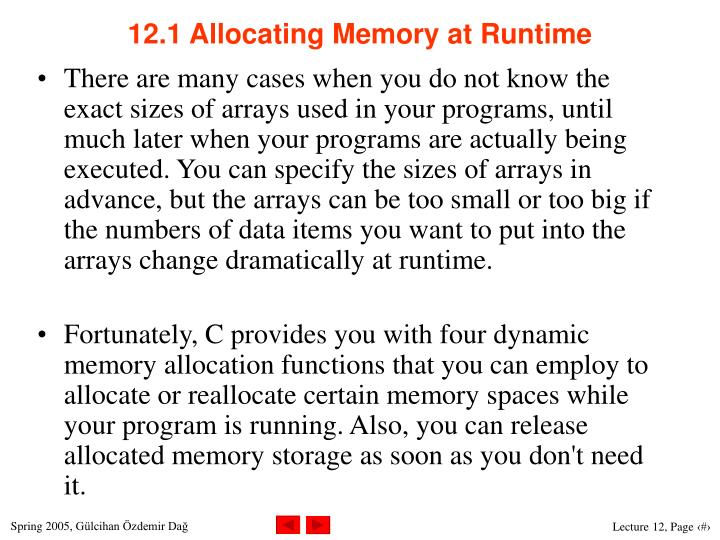 12 1 allocating memory at runtime
