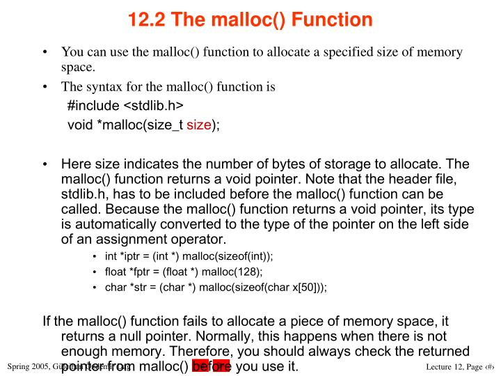 12.2 The malloc() Function