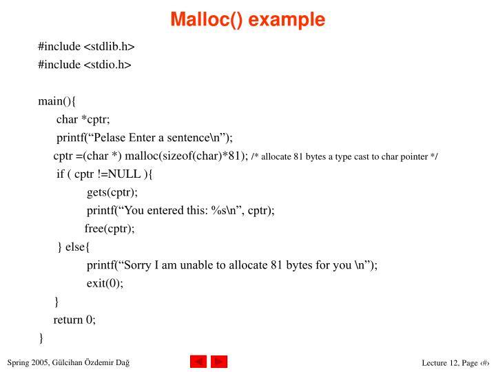 Malloc() example