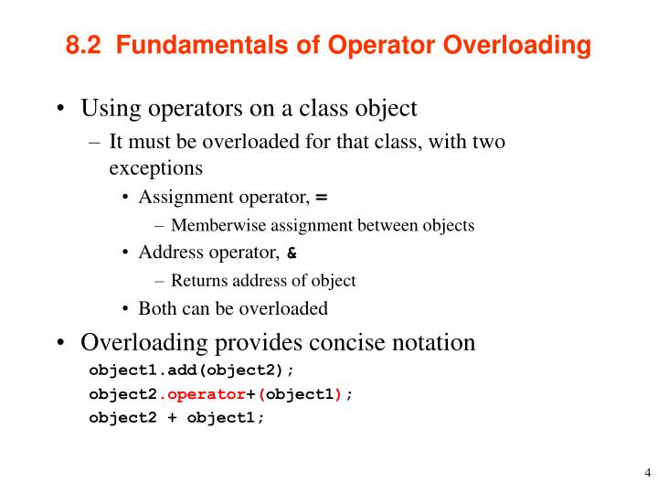 8.2  Fundamentals of Operator Overloading