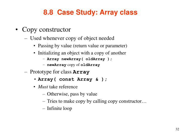 8.8  Case Study: Array class