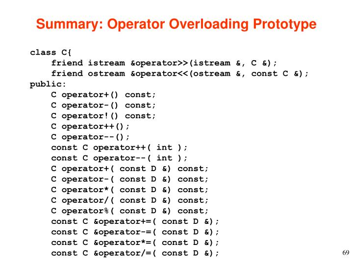 Summary: Operator Overloading Prototype