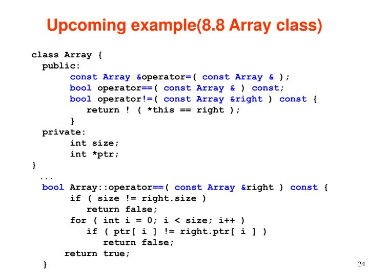 Upcoming example(8.8 Array class)