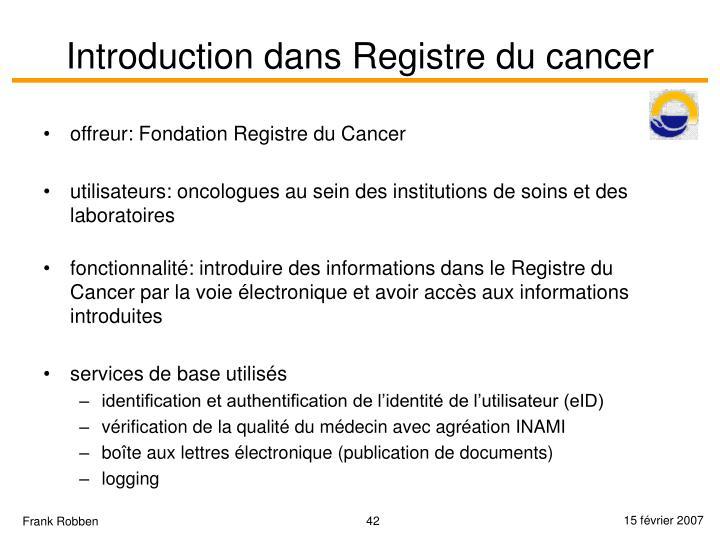Introduction dans Registre du cancer