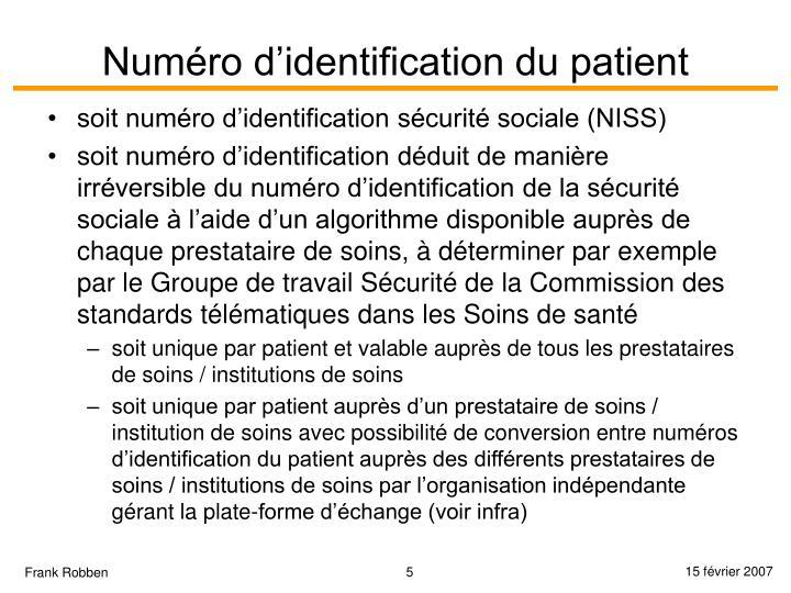 Numéro d'identification du patient