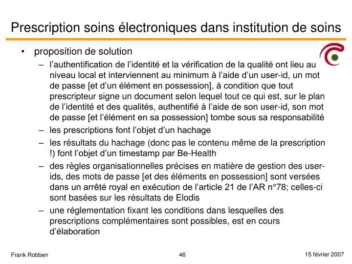 Prescription soins électroniques dans institution de soins