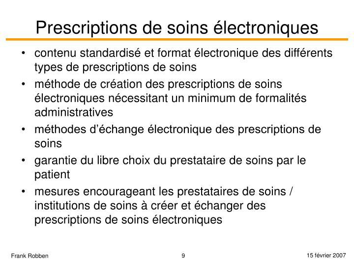 Prescriptions de soins électroniques
