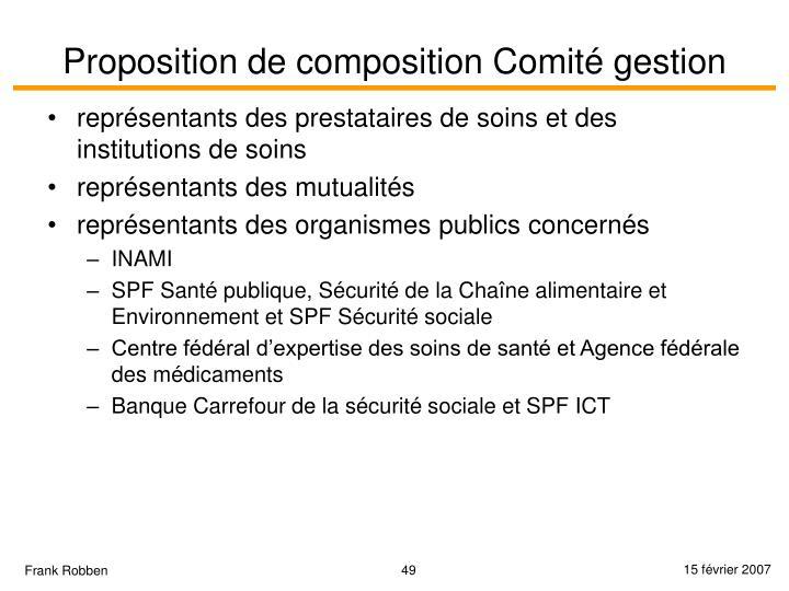Proposition de composition Comité gestion