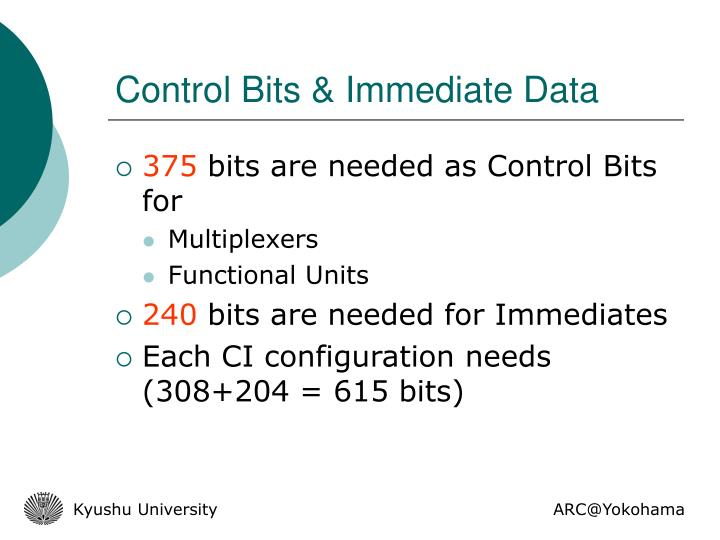 Control Bits & Immediate Data