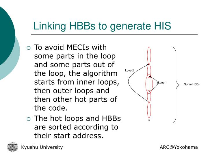 Linking HBBs to generate HIS