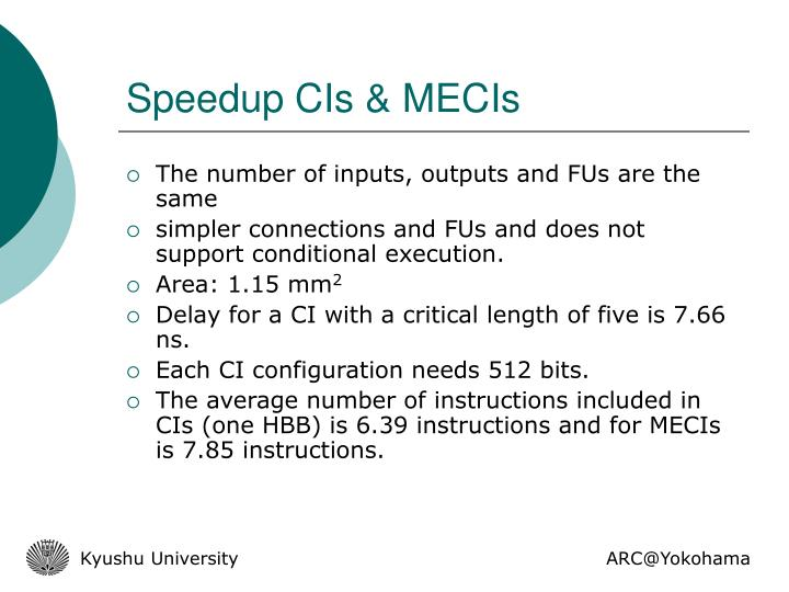 Speedup CIs & MECIs