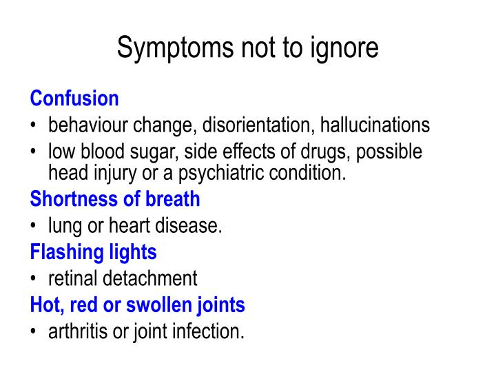Symptoms not to ignore
