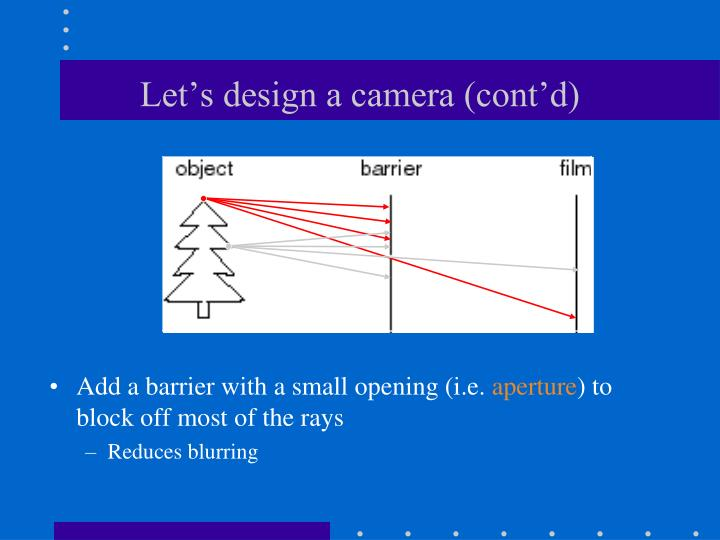 Let's design a camera (cont'd)