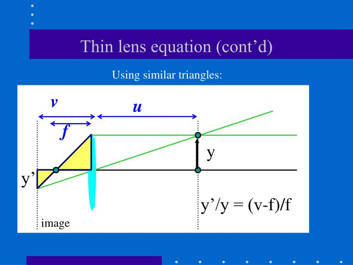 Thin lens equation (cont'd)