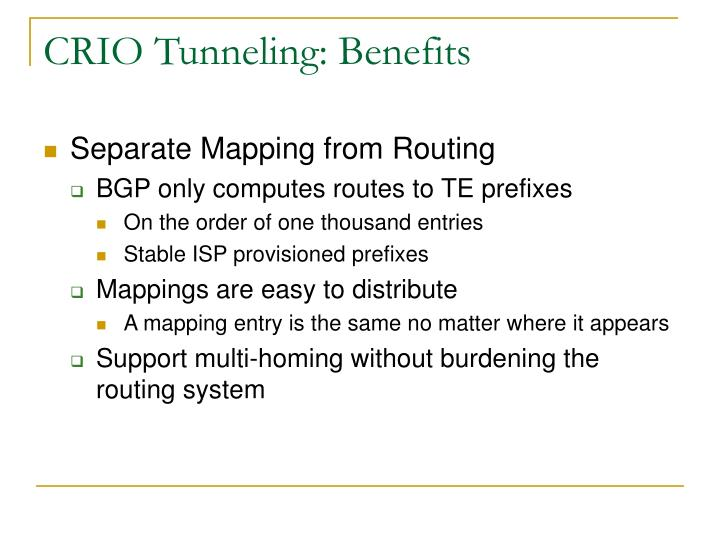 CRIO Tunneling: Benefits