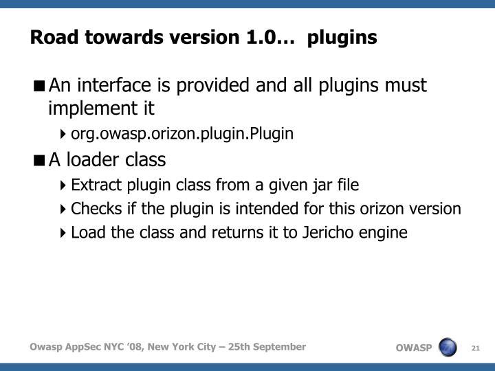 Road towards version 1.0…  plugins