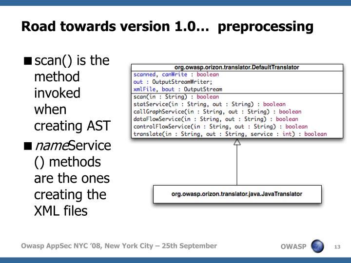Road towards version 1.0…  preprocessing