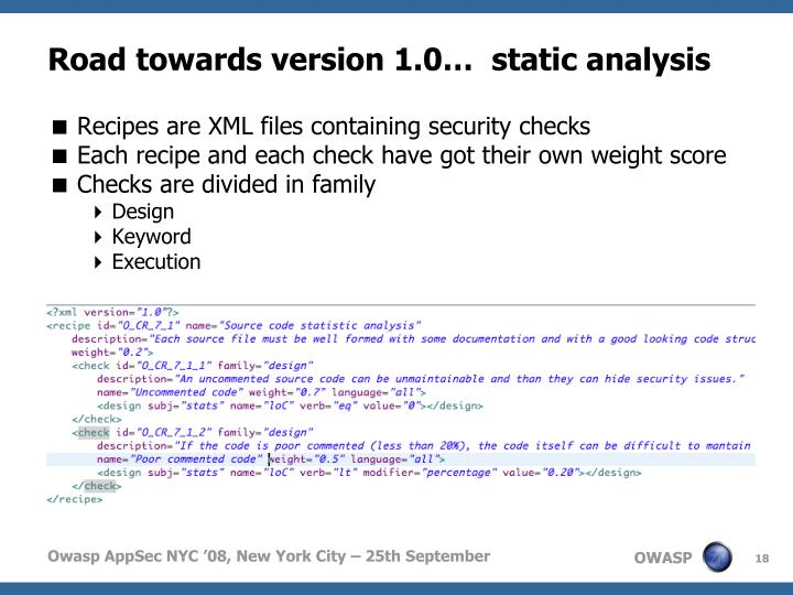 Road towards version 1.0…  static analysis