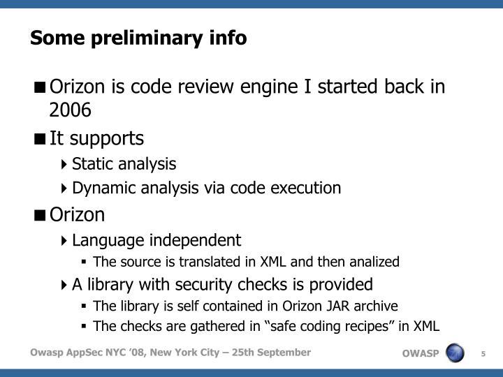 Some preliminary info