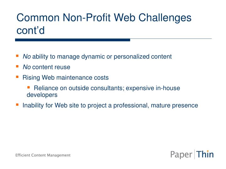 Common Non-Profit Web Challenges cont'd