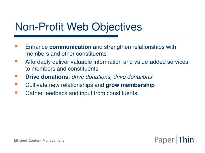Non profit web objectives