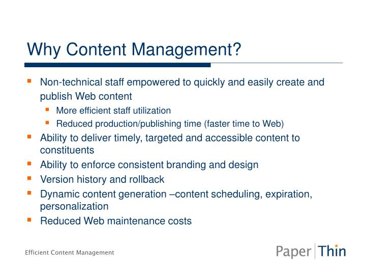 Why Content Management?