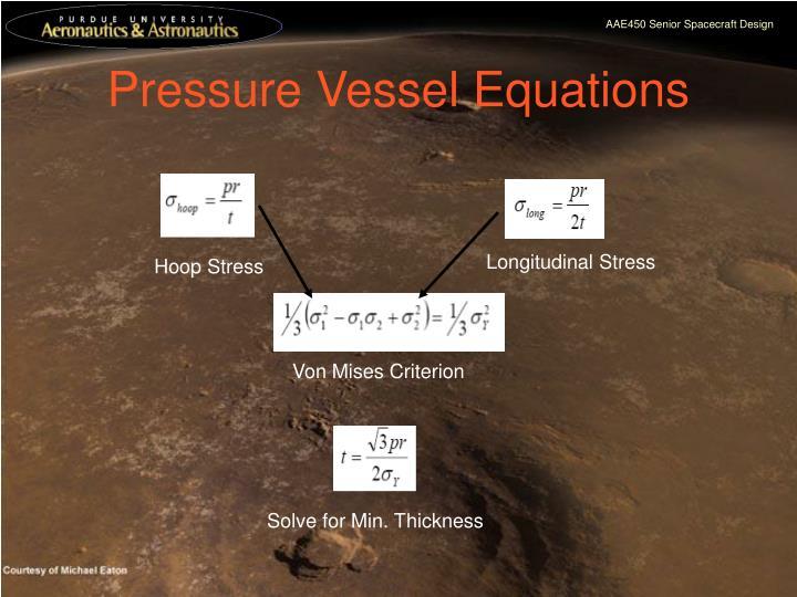 Pressure Vessel Equations