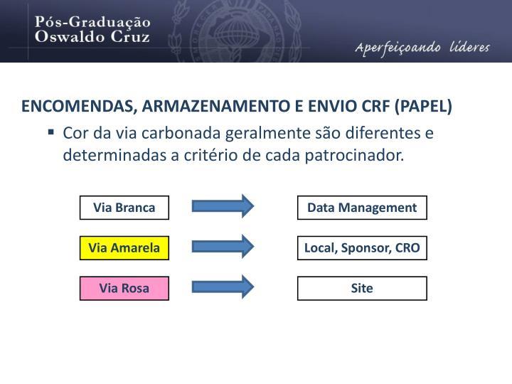 ENCOMENDAS, ARMAZENAMENTO E ENVIO CRF (PAPEL)