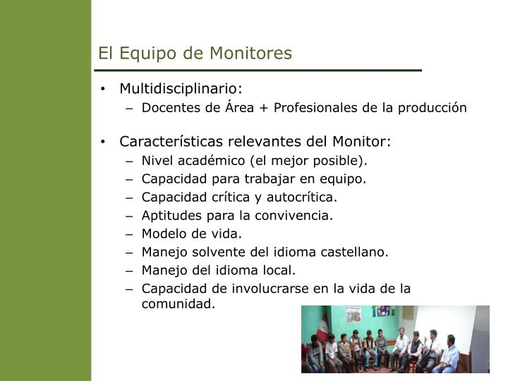 El Equipo de Monitores