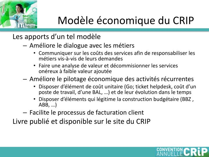 Modèle économique du CRIP