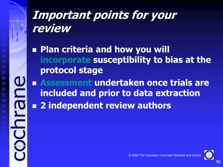 Plan criteria and how you will