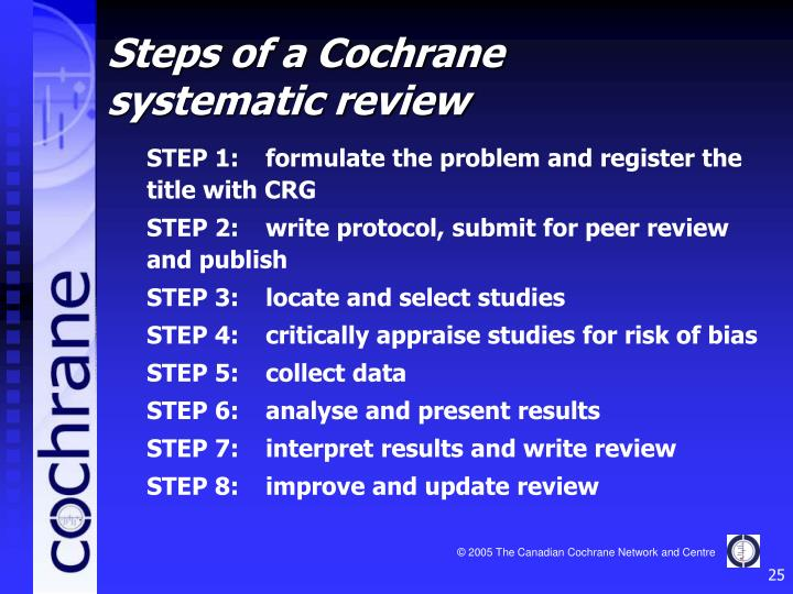 STEP 1:	formulate the problem and register the title with CRG