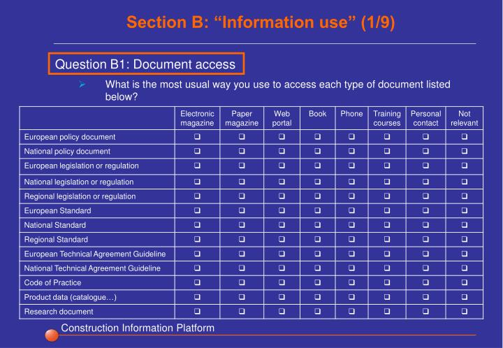 "Section B: ""Information use"" (1/9)"