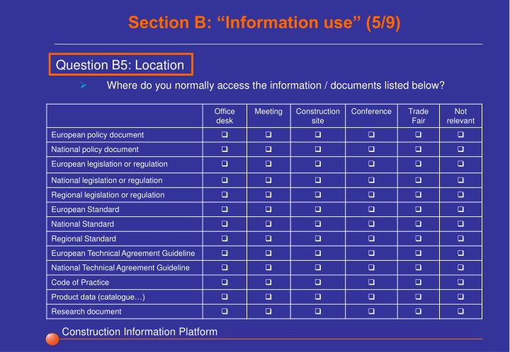 "Section B: ""Information use"" (5/9)"